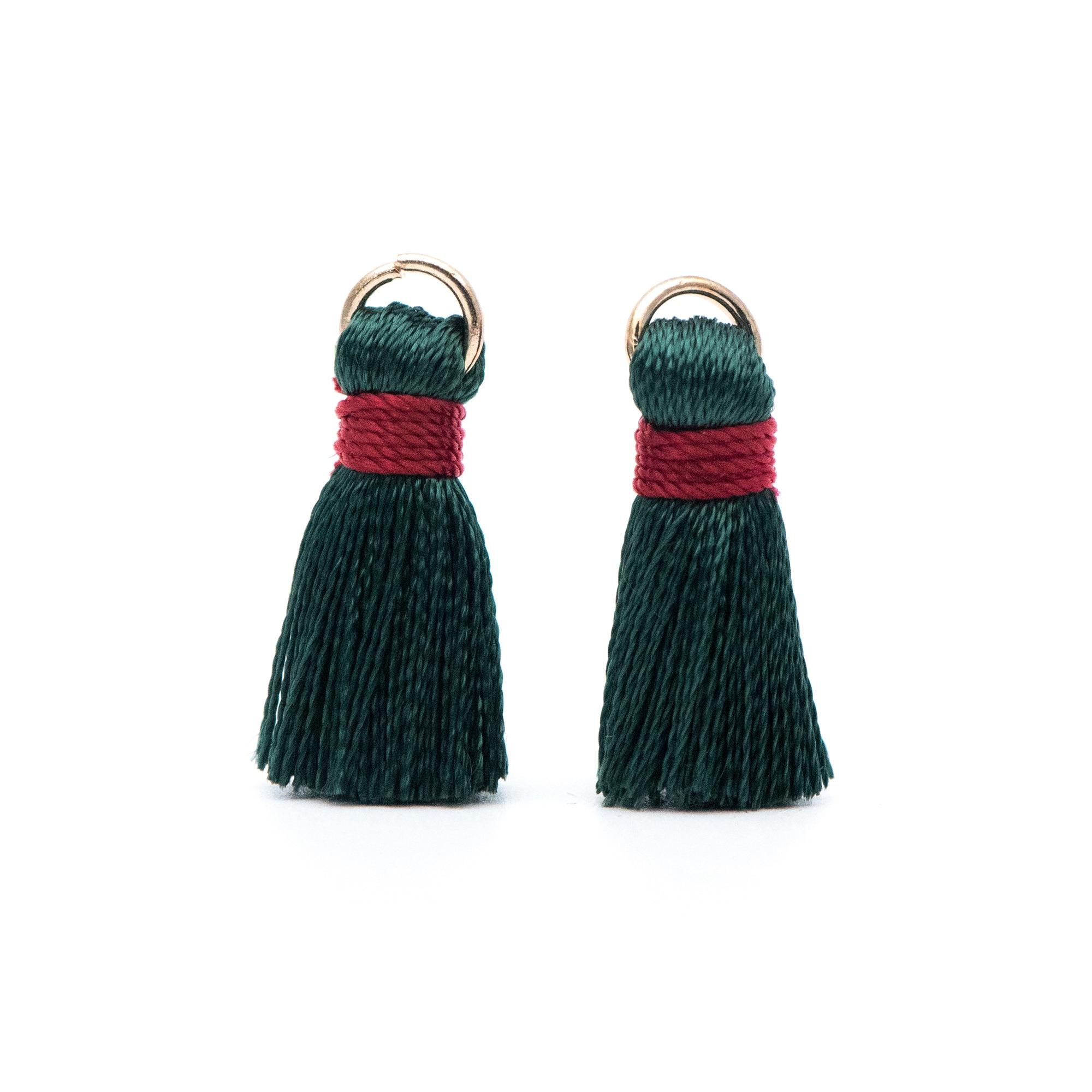 10pcs Silk Tassels, Silky Tassels Wholesale, 24mm Small Tassel Charms, Christmas Green (FB-032-10)