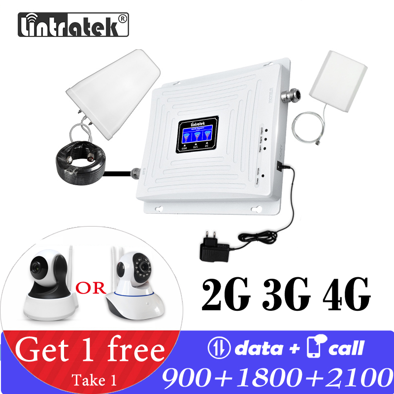 Signal Booster Lintratek 900 ~ 2100 1800 2G 3G 4G GSM Signal Repeater GSM 900 WCDMA 2100 DCS 1800 B3 Booster Cellphone Amplifier