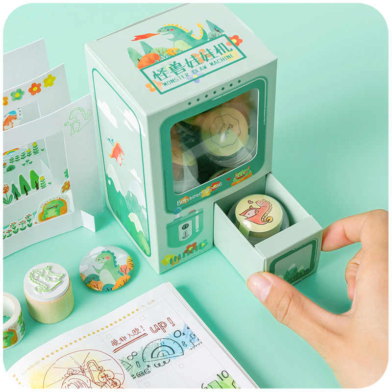 Kawaii Fun Schudden Doos Capsule Lucky Machine En Papier Tape Combinatie Afdichting Stempelkussen Badge Set Hand Account Materiaal Boek