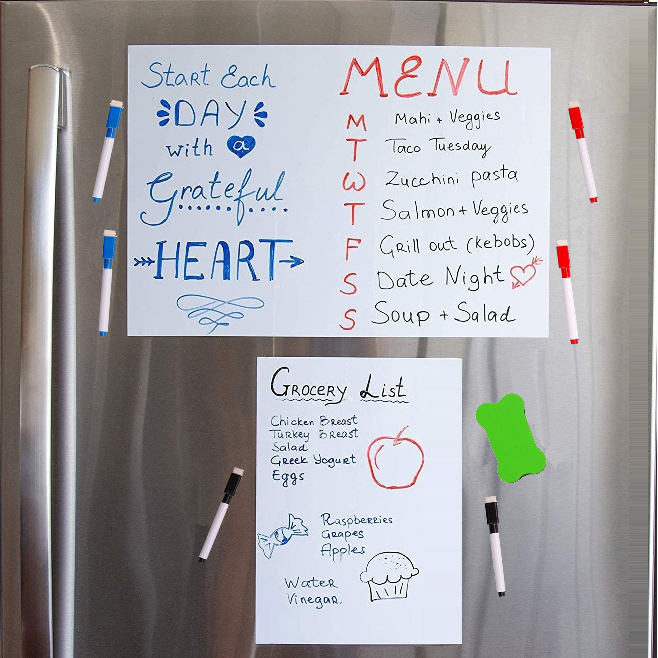 A4 + A3 Magnetic Refrigerator White Board Weekly Menu Planner Grocery To Do List Fridge Magnetic Dry Erase Whiteboard Marker Pen