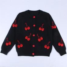 Coat Cardigan-Coat Knitted Cherry Girls Clothing Long-Sleeve Boys Kids Children 1-6yrs