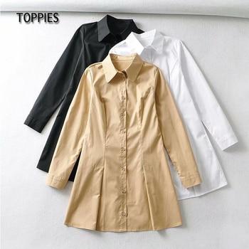 Toppies Women Long Sleeve Shirt Dress Solid Color Slim Mini Dress Japan Clothes Female Blouses