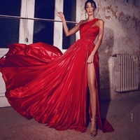 Couture Red Stain Prom Dresses Women Ruffles Evening Gown Asymmetrical One Shoulder Zipper Back Floor Length Party Dress