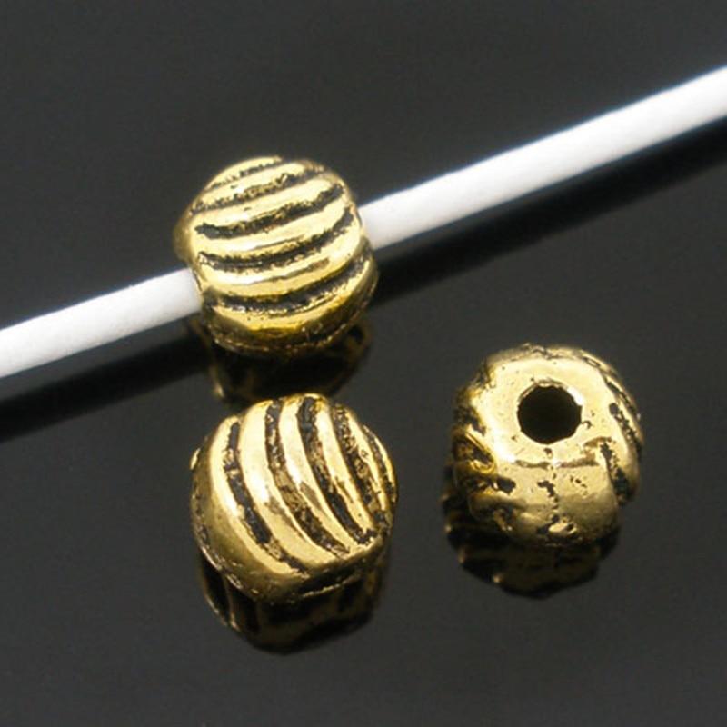 DoreenBeads, бисер на основе сплава цинка, античный золотой цвет, в полоску, резные украшения, диаметр 5 мм, Отверстие: Приблизительно 1 мм, 30 шт.|Бусины|   | АлиЭкспресс