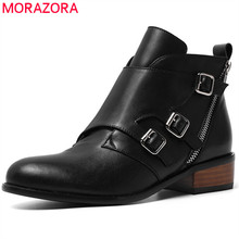 MORAZORA 2020 למעלה איכות עור אמיתי קרסול מגפי נשים zip אבזם סתיו חורף נעלי אופנה שמלת נעלי אישה