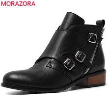 Morazora 2020 여성을위한 최고 품질의 정품 가죽 발목 부츠 지퍼 버클 가을 겨울 부츠 패션 드레스 신발 여성