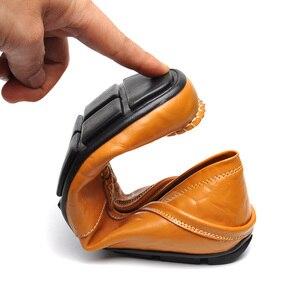 Image 5 - Мокасины мужские из натуральной кожи, лоферы, прогулочная обувь, плоская подошва, модные брендовые, Мокасины, большие размеры 36 47, весна осень