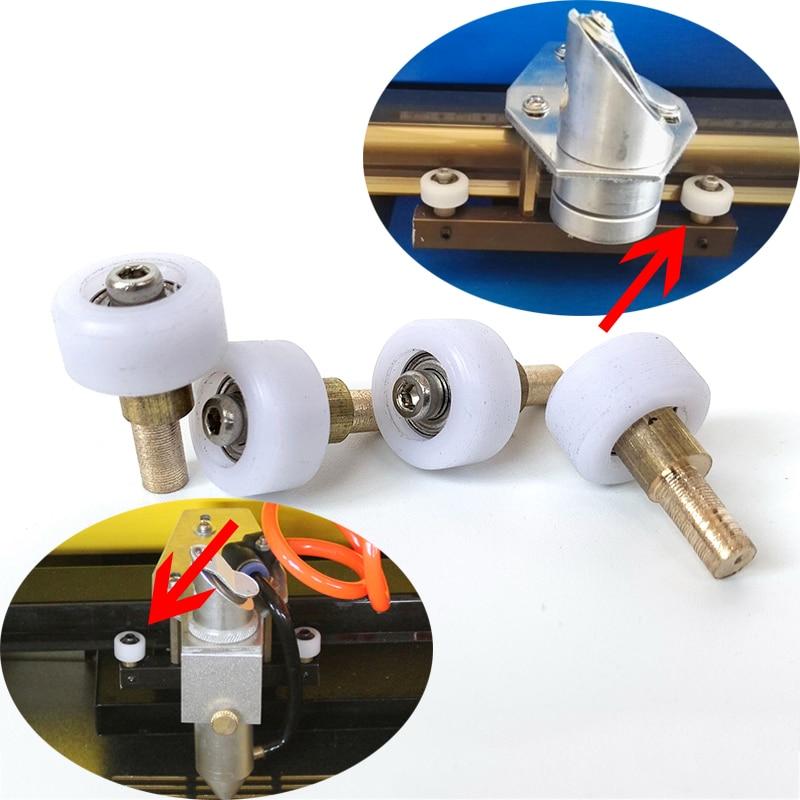 4pc DIY CO2 Mini Laser Stamp Engraving Cutting Machine Shenhui K40 Part Head Mount Carriage Wheel 3040 4060 Engraver Rollers Set