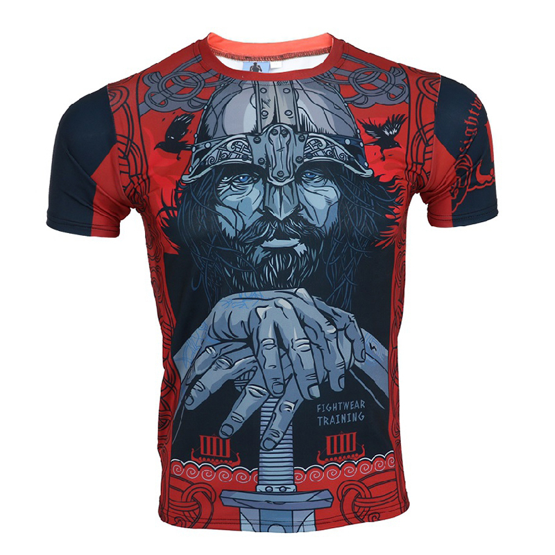 MMA Warrior Boxing Training T-Shirt Tee Kickboxing Muay Thai Training Fightwear Muscle Men Cotton Breathable Gym Running T Shirt