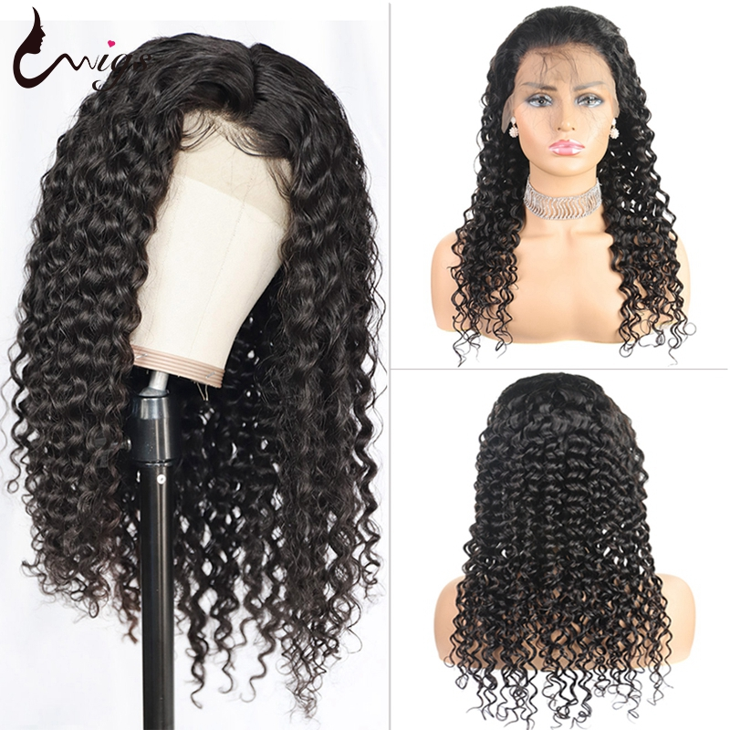 Uwigs 4x4 Closure Wig Brazilian Deep Wave Wig Bleached Knots Glueless Human Hair Wigs Pre Plucked Remy Wigs 180 Density 8-26