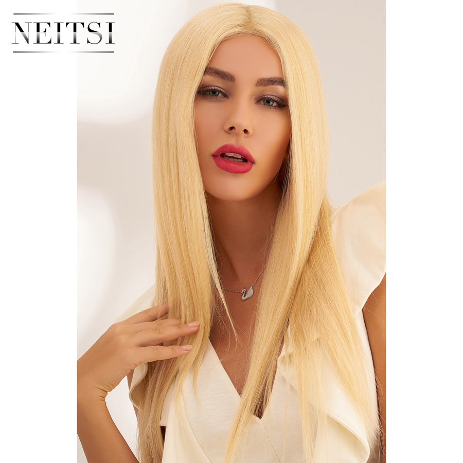Neitsi Half Lace Remy Human Hair Wig 20'' 60cm 150% Denisty Women Straight Blonde Color Long Wigs With Baby Hair
