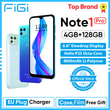 Telefone celular figi nota 1 pro smartphone 6.6 display display display helio p25 octa núcleo 4gb 128gb 4000mah bateria android telefone móvel 16mp cam
