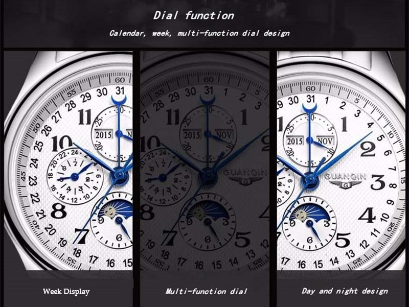 H6075962babc7419a93b061c3f0ac3687o GUANQIN Automatic Mechanical Men Watches Top Brand Luxury Waterproof date Calendar Moon Leather Wristwatch Relogio Masculino A