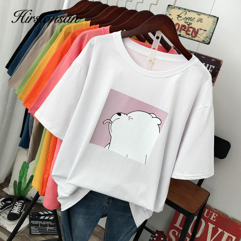 Hirsionsan Cute Bear Printed T Shirt Women 2020 New Harajuku Korean Oversized 100% Cotton Summer Tees Ins Soft Female Jumper Top