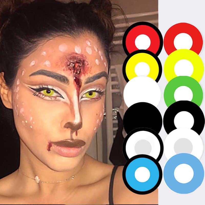 2 sztuk/para Halloween Cosplay kolorowe soczewki kontaktowe dla oczu Anime soczewki kolorowe soczewki kontaktowe dla oczu kolorowe szkła Cosplay czerwony