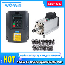 New CNC 1.5kw 220V/110V Air-Cooled Spindle Kit 1500W Square Air Cooling Spindle Motor + 1.5KW VFD Inverter + 13pcs/Set ER11