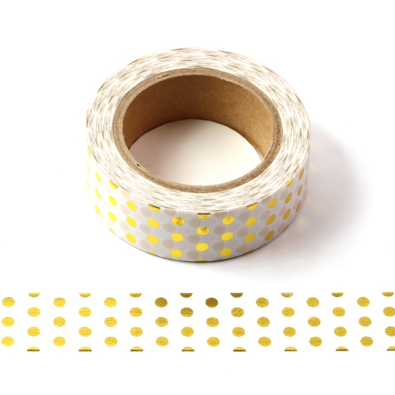 10M Decorative Gold Foil Washi Tape White Dots DIY Scrapbooking Sticker Label Japanese Masking Tape School Office Supply