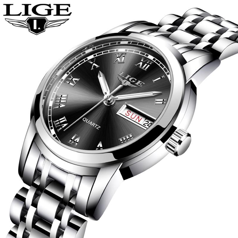 LIGE 2020 New Women Watches Top Brand Luxury Stainless Steel Strap Wristwatch for Women Casual Clock Stylish Quartz Ladies Watch