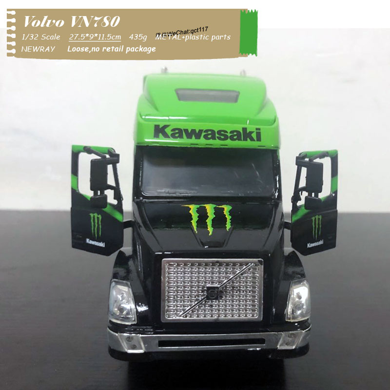 NEWRAY 1/32 Scale Monster Energy Kawasaki Factory Team Truck Volvo VN780 Diecast Metal Car Model Toy For Kids,Collection,Gift