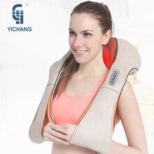 Masaż YICHANG do masażer szyi cztery kolorowa skóra PU elektryczne masażery pleców Shiatsu elektryczne masaż ramion