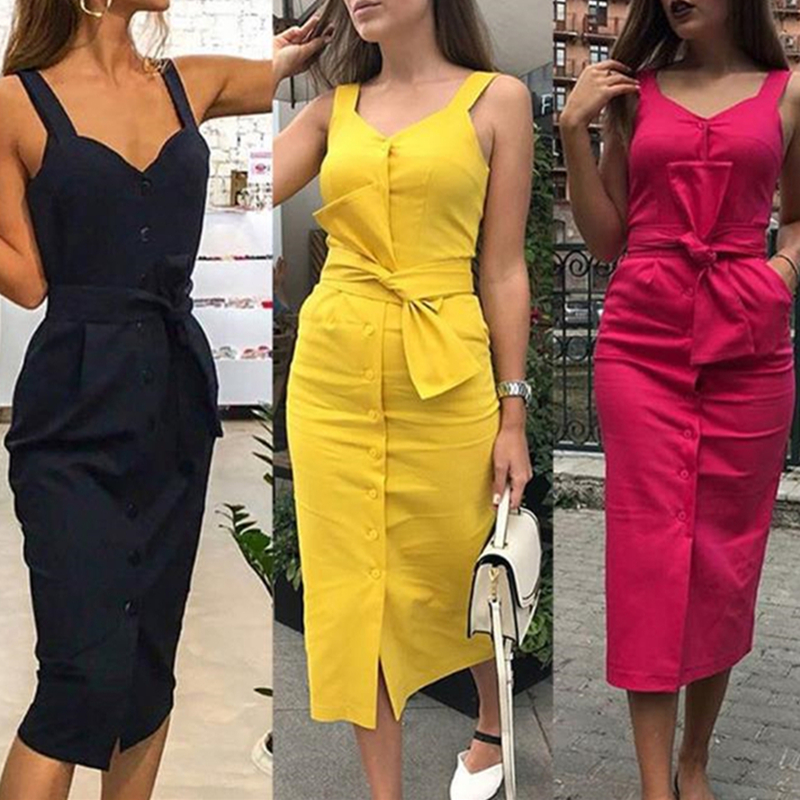 Women's Fashion Summer Classic Dresses Sleeveless V Neck Button Bow Long Dresses With Pockets Vestidos