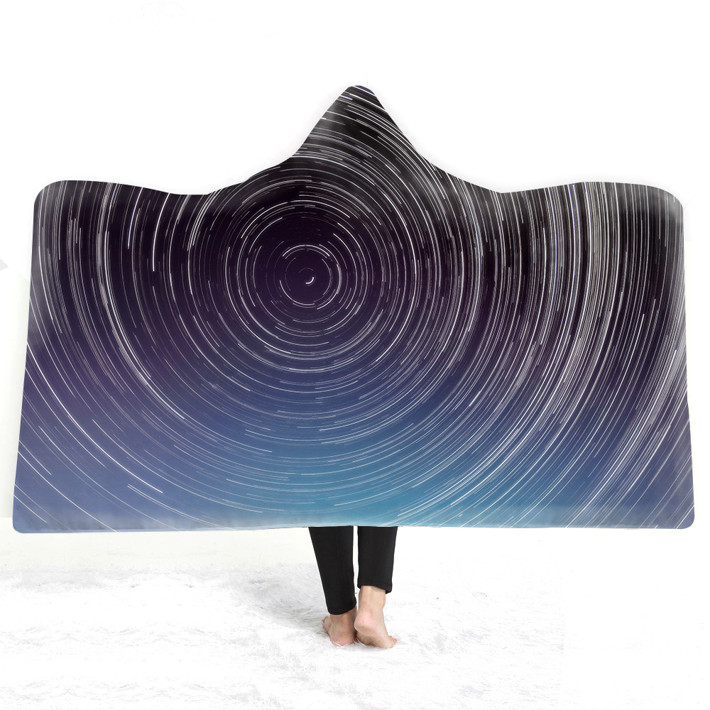 Starry Sky Hooded Blanket For Adults Childs 3D Printed Plush Sherpa Fleece Hoodie Blanket Microfiber Throw Blanket For Home Sofa in Blankets from Home Garden