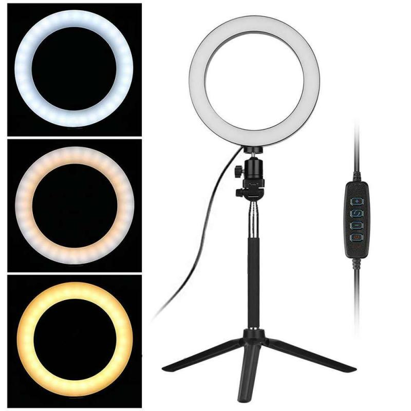 LED Ring Light Studio Video Dimmable Lamp Tripod Stand Selfie Camera Phone Beauty Live Ring Fill Light Set
