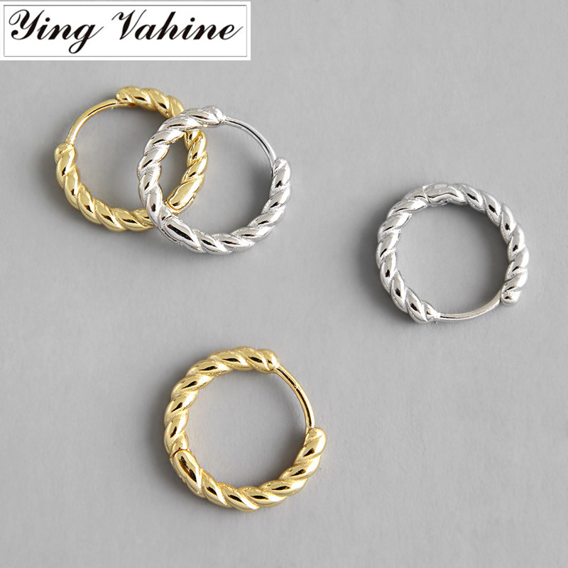 Ying Vahine 100% 925 Sterling Silver Simple Style Twisted Stud Earrings For Women