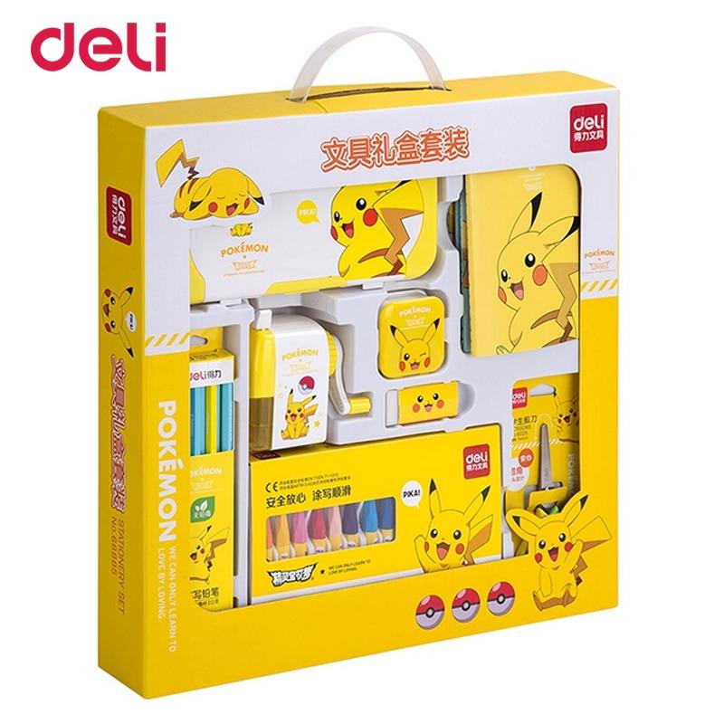 Deli Pokemon 8pcs/pack Stationery Set Student School Supplies Kids Cute Pikachu Birthday Gift Writing And Drawing Set Wholesale
