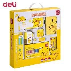 Deli-Set de 8 unidades de Pokemon, Set de papelería, útiles escolares para estudiantes, niños, Pikachu bonito, regalo de cumpleaños, Set de escritura y dibujo al por mayor