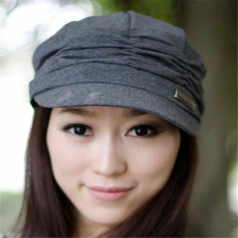 Menakjubkan Solid Bouffancy Wanita Militer Topi Datar Topi Mahasiswa Topi Vintage Navy Topi Musim Gugur Musim Dingin Topi