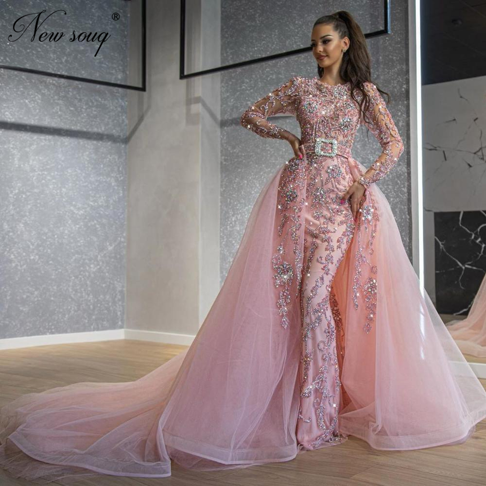 Arabic Beading Evening Gown Muslim Mermaid Luxury Detachable Train Prom Custom Made 2020 Formal Long Dresses Saudi Arabia Aibye