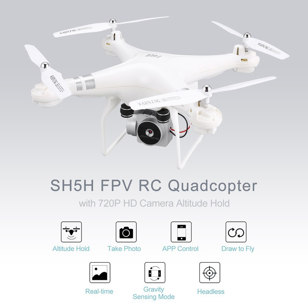 SH5H 2 4G FPV Drone with 720P Camera RC Quadcopter Wifi Live Video Altitude Hold Headless Mode One Key Return