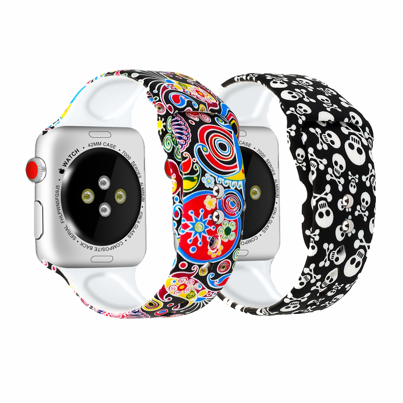 Stylish Smart Watch Band For Apple Watch Strap Cartoon Pattern Waterproof Non-toxic Silicone Bracelete For Iwatch Band Reloj