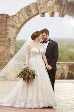 فستان الزفاف الدانتيل حتى الظهر مع 60 سنتيمتر قطار طويل فستان زفاف رداء دي ماري ثوب زفاف vestido de noiva
