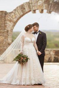 Image 1 - Suknia ślubna zasznurować z powrotem z 60cm długi pociąg suknia ślubna szata de mariee suknia ślubna vestido de noiva