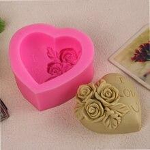 Цветочная форма в форме сердца для мыла силиконовая i love u