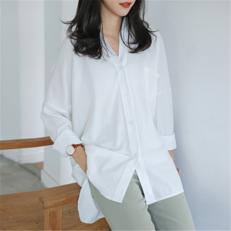 CBAFU Women Long Shirt Spring Autumn Fashion White And Green Blouse Loose Lady Blouse Long Sleeve Tops Office Work OL P748