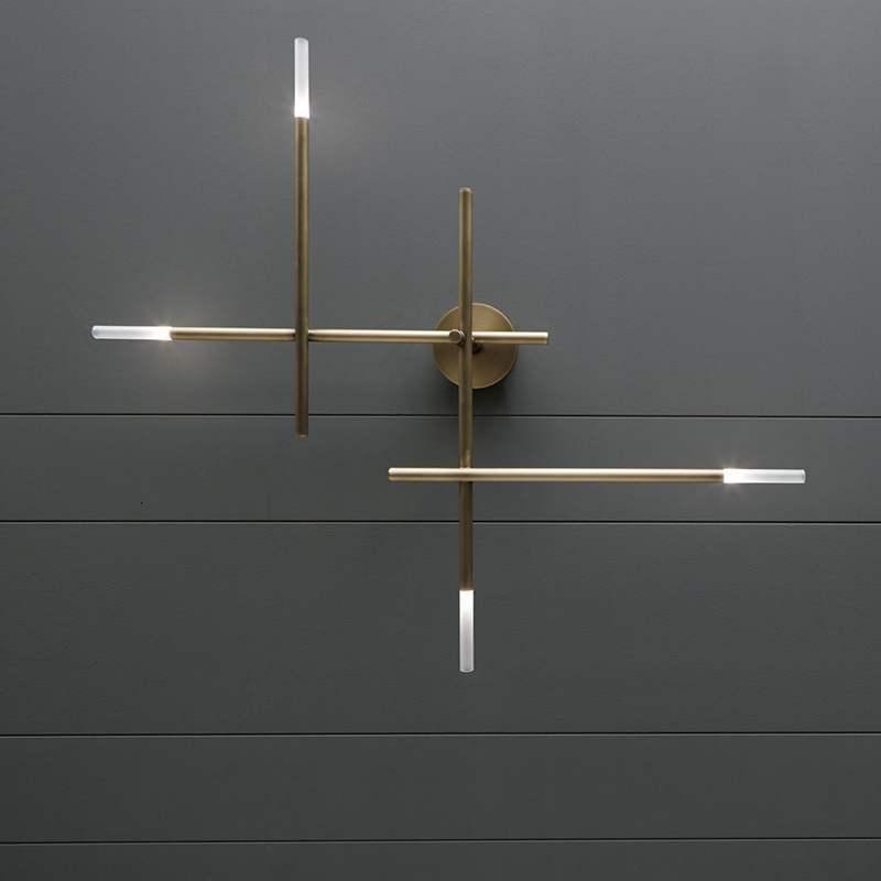 Post Modern Minimalist Light Luxurious A Living Room Background Wall Lamp Bedroom Study Hotel Aisle Cross Line Wall Lamp