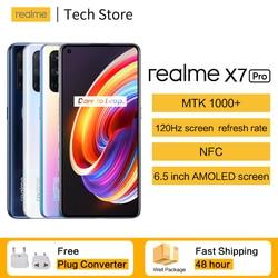 Original dupla 5g nfc realme x7 pro smartphone 6.55 120120tela 120hz atualização taxa 65w inteligente vooc mtk1000 + 64mp quad câmera celular