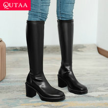 High-Boots Platform Square Toe QUTAA Knee Zipper Big-Size Winter Women 34-43 PU Stretch