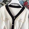 Women's Knit Dress Autumn Winter New Korean Temperament V-neck Long-sleeved Slim Hip Knit Dress Bottoming Sweater Dress ML488 6