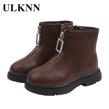 ULKNN Children Martin Boots Winter PU Leather Warm Waterproof Plush Snow Shoes Outdoor Non-slip Girls Fashion Sneakers Brown