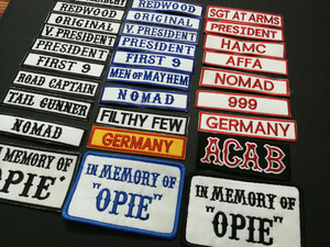 Image 3 - SONS OF NOMAD ORIGINAL V PRESIDENT REDWOOD FRIST 9 IN MEMEORY OF OPIE ACAB AFFA Embroidered ANARCHY PATCHES applique BADGES