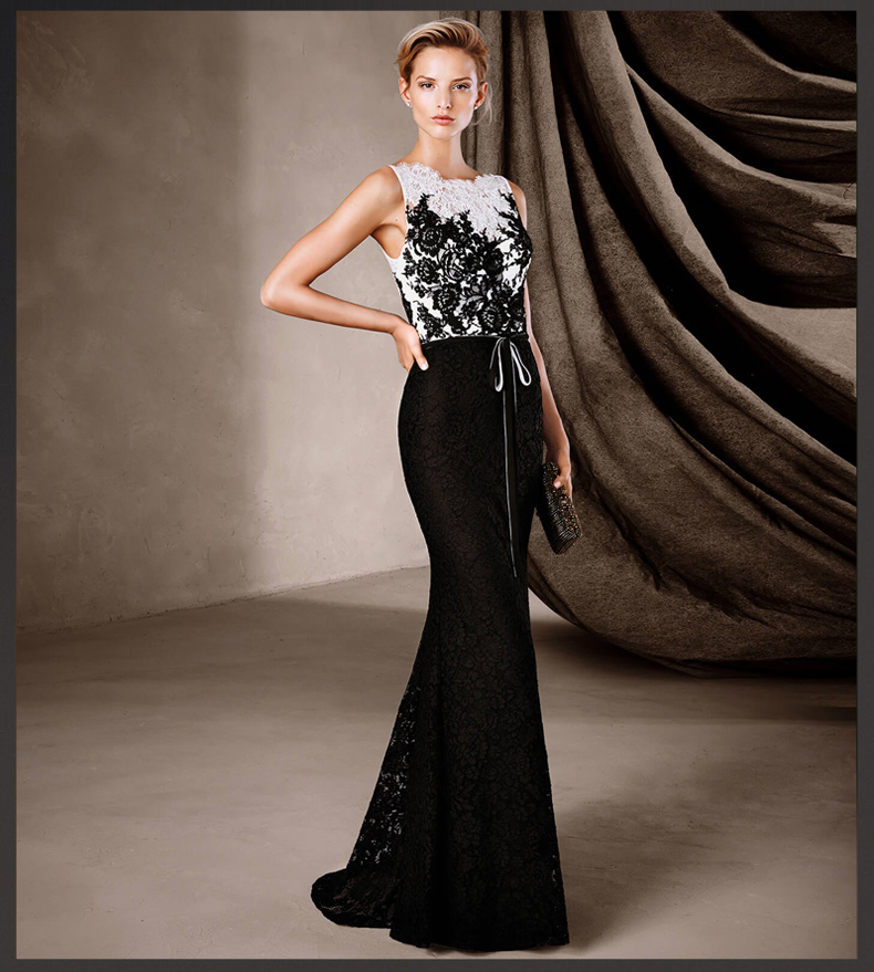 Black Lace Mermaid Evening Gown Unique Sashes Robe De Soiree Formal Appliqued Floor-Length 2018 Mother Of The Bride Dresses
