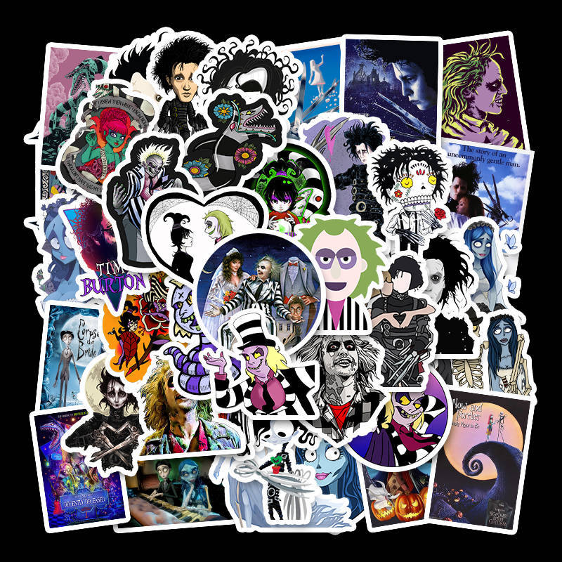 50PCS Tim Burton Movie Stickers Beetlejuice&Corpse Bride Stickers For Kids Luggage Skateboard Laptop Children Toy