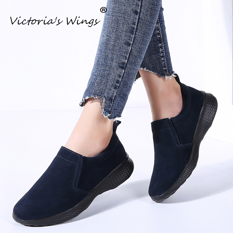 New Victoria's Wings Women's Flats 2020 Sneakers Fashion Autumn Ladies Flats Suede Moccasin Shoes Walking Work Flats