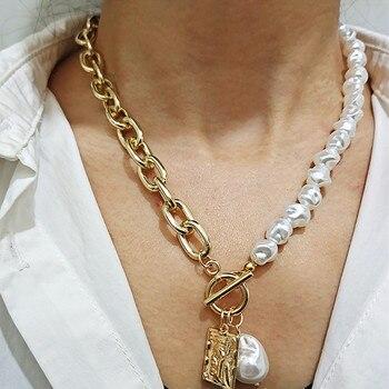 KMVEXO-collar de cadenas con cierre Irregular de perla barroco para mujer, gargantilla...