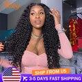 ABBY глубокая волна Кружева передние парики для Для женщин перуанские волосы 4x4 кружева закрытие парик глубоко вьющиеся синтетические волосы...