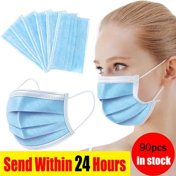 90pcs Anti-Pollution 3 Layer Mask dust protection Mask Disposable Face Masks Elastic Ear Loop Disposable Dust Filter Safety Mask